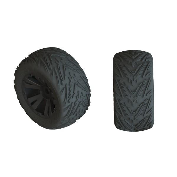 """Arrma dBoots Minokawa LP 3.8"""" tires, Mounted on Black Wheels (2)"""