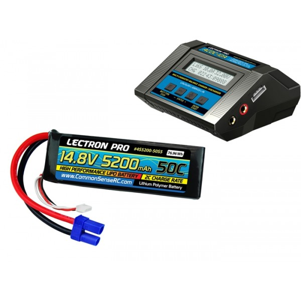 Power Pack #54 ACDC-10A Charger and 14.8V 5200mah 50C Soft Pack, EC5