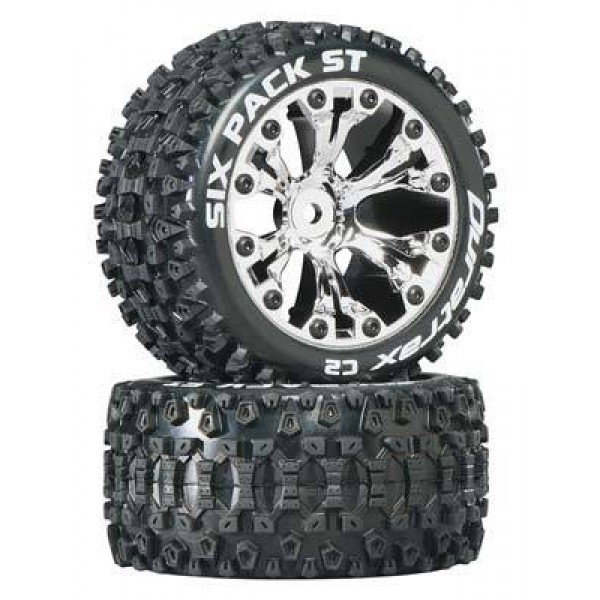 """DuraTrax Sixpack ST 2.8"""" Mounted truck tires for rear 2WD chrome (2)"""