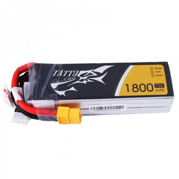 Gens Ace LiPo Pack Battery 1800mAh 75C 14.8V (4S) with XT60 Connector