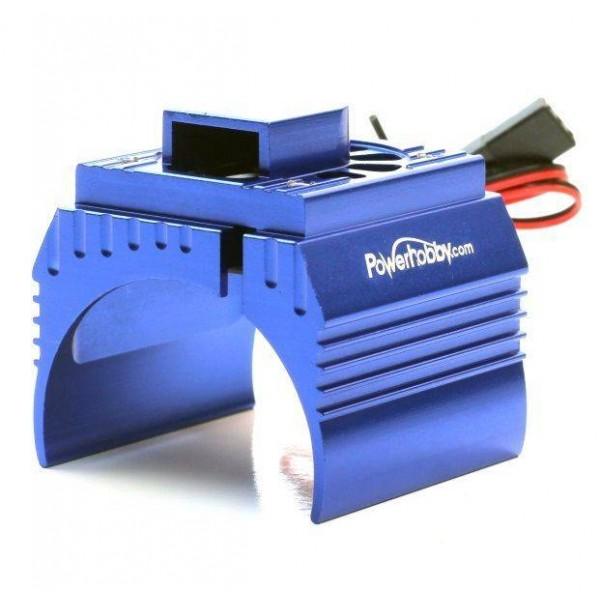 Power Hobby Aluminum Motor Heatsink & Cooling Fan For 1/8 Size Motors, Blue