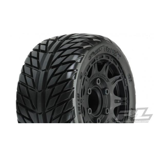 "Pro-Line Street Fighter Mounted LP 2.8"" Street Tires on Raid Black Wheels (2)"