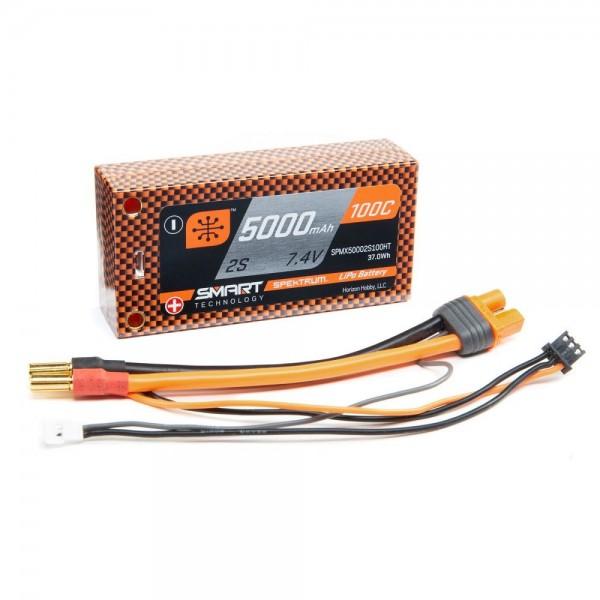 Spektrum 5000mAh 2S 7.4V 100C Smart LiPo Short Battery with 5mm Tubes