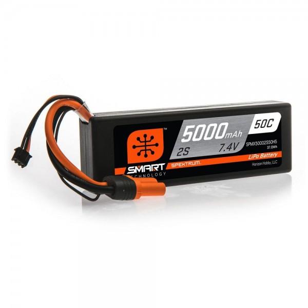 Spektrum 5000mAh 2S 7.4V 50C Smart LiPo Hardcase Battery; IC5