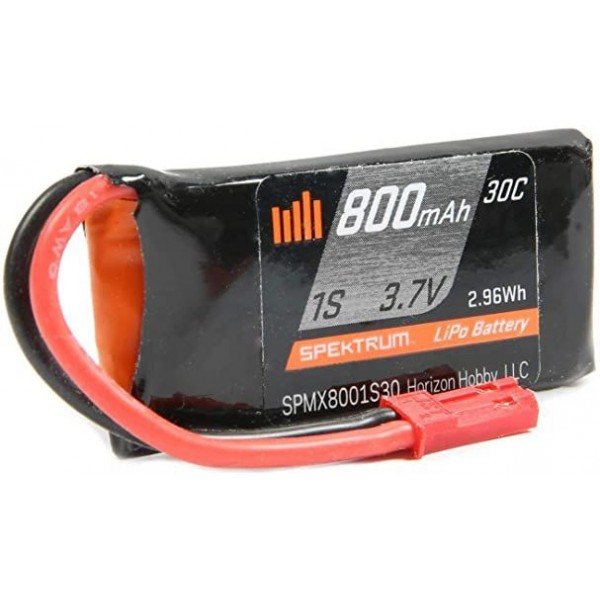 Spektrum 800mAh 1S 3.7V 30C Lipo Battery with JST Connector