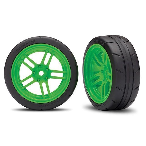 "Traxxas Front spilt-spoke Mounted 1.9"" Wheels & Tires for 4-Tec 2.0, Green (2)"