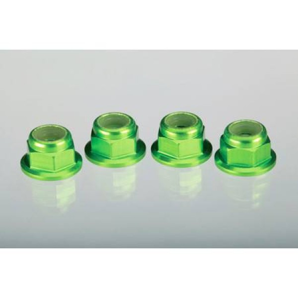Traxxas 4mm Flanged Serrated Nuts Green (4)