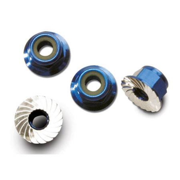 Traxxas 4mm Flanged Serrated Nylon Locking Blue (4)