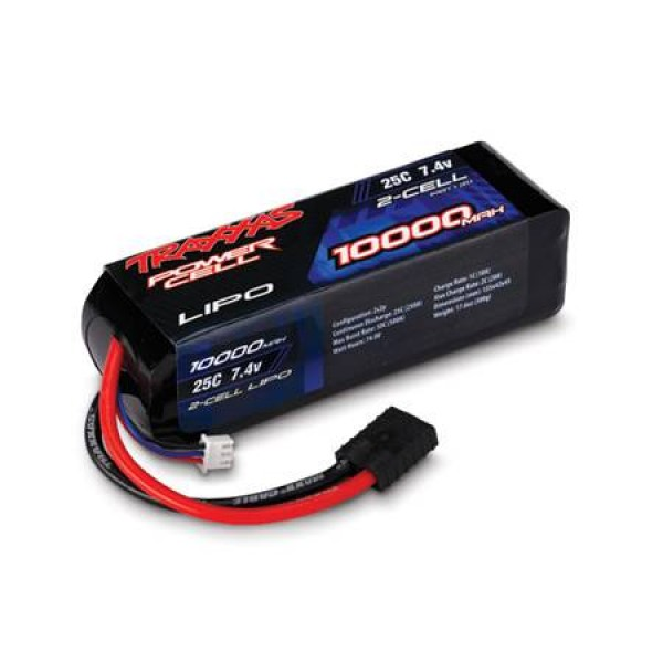 Traxxas LiPo Battery 10000mAh 25C 7.4V (2S) with Traxxas Connector