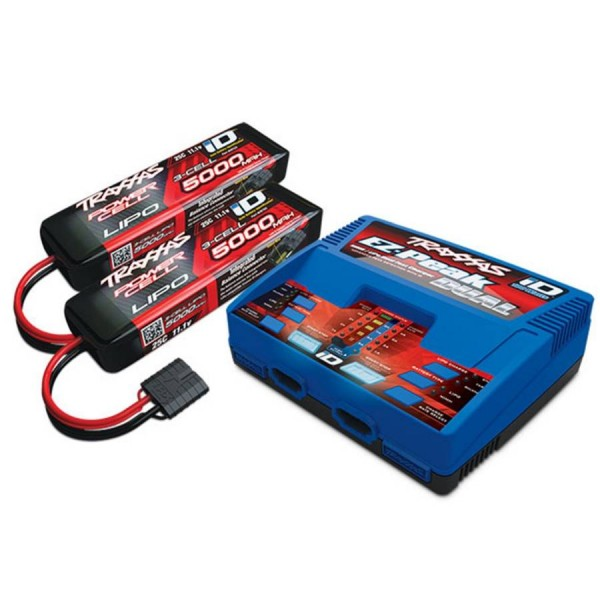 Traxxas 3S 5000mAh Completer Pack: ((2) 11.1V 5000mAh 25C LiPo Battery & (1) EZ-Peak Dual ID Charger)