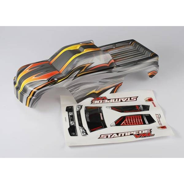 Traxxas Stampede VXL 1/10 Monster Truck body with ProGraphix decals. Clear / Orange / Yellow