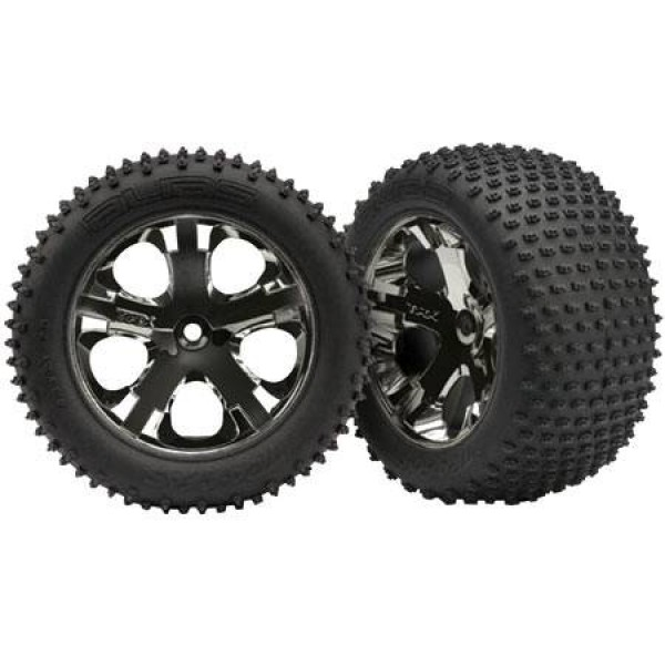 "Traxxas pre-assembled 2.8"" All-Star black chrome rear wheels with foam inserts (TSM) (2)"