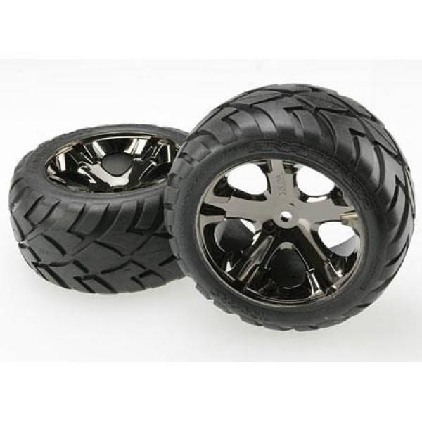 Traxxas Anaconda pre-assembled rear tires with black chrome All-Star wheels (2)