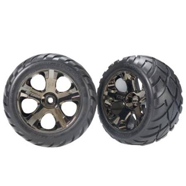 Traxxas pre-assembled Front Anaconda Tires & All-Star Wheels, black chrome (2)