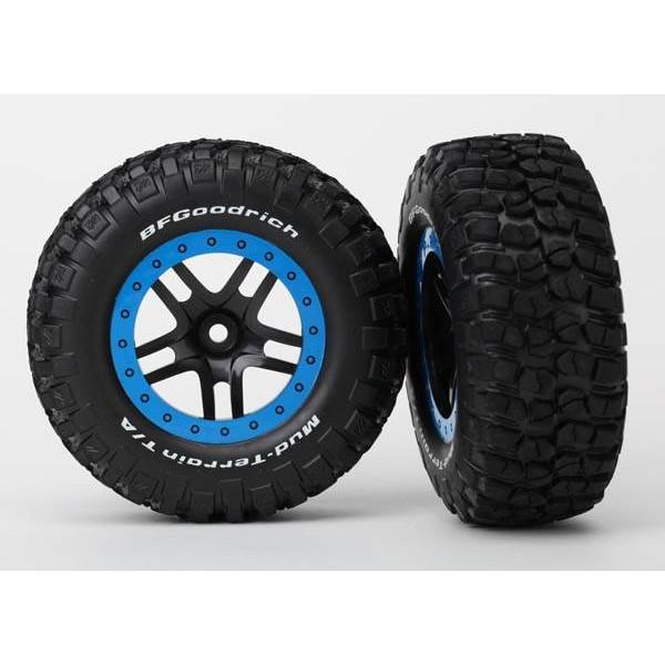 Traxxas Split-Spoke Tire/Wheel Assembly Glued SCT Black