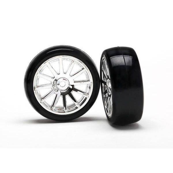 Traxxas 12-spoke chrome wheels, slick tires (assembled) (2)