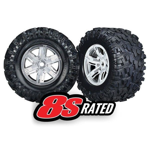 Traxxas X-Maxx Mounted Tires & Wheels, black chrome, (left & right) (2)