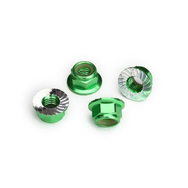 Traxxas Nuts, 5mm flanged nylon locking (aluminum, green-anodized, serrated) (4)