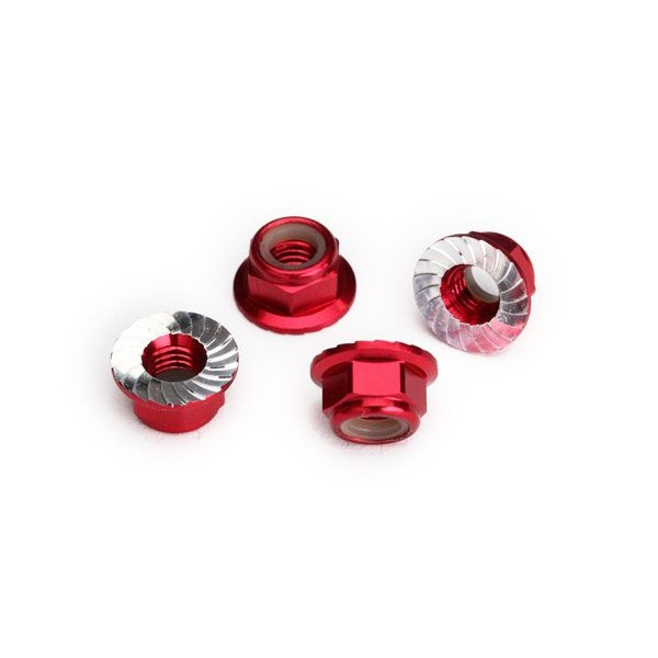 Traxxas Nuts, 5mm flanged nylon locking (aluminum, red-anodized, serrated) (4)