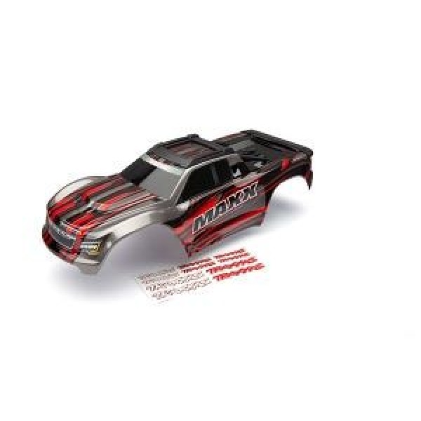 Traxxas Maxx Body, red (painted) with decal sheet