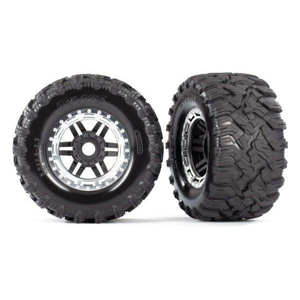 Traxxas Assembled Tires & wheels, satin chrome beadlock style wheels, TSM (2)