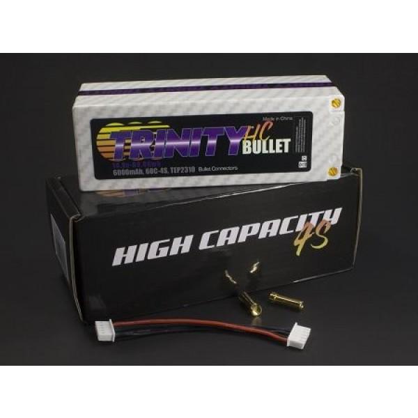 Trinity Hi-Capacity 14.8V 4S 6000mAh 60C LiPo Hardcase Battery with 5mm Bullet Connectors